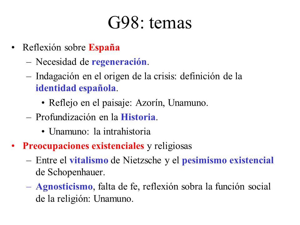 G98: temas Reflexión sobre España Necesidad de regeneración.
