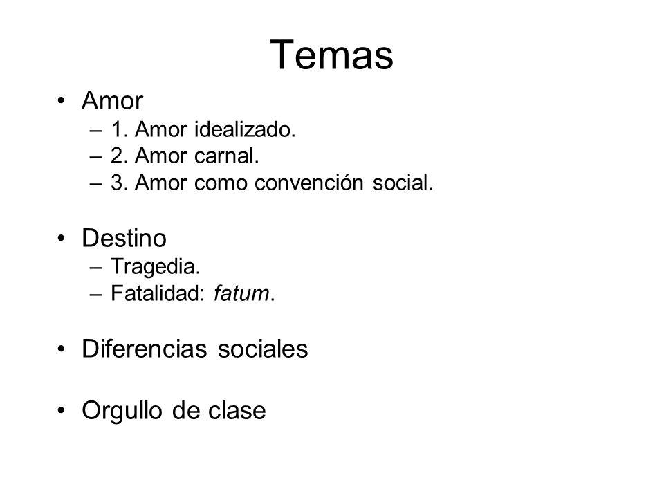 Temas Amor Destino Diferencias sociales Orgullo de clase
