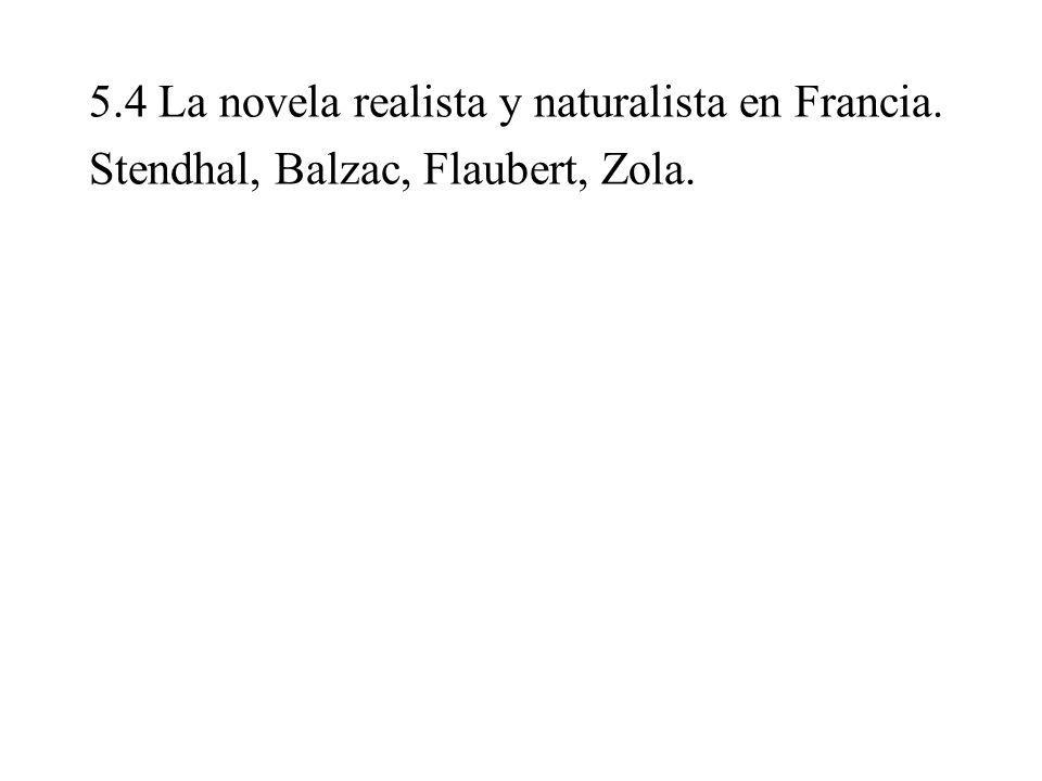 5. 4 La novela realista y naturalista en Francia