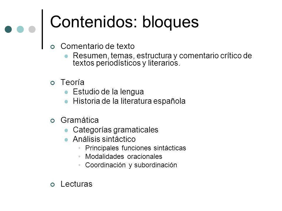 Contenidos: bloques Comentario de texto Teoría Gramática Lecturas
