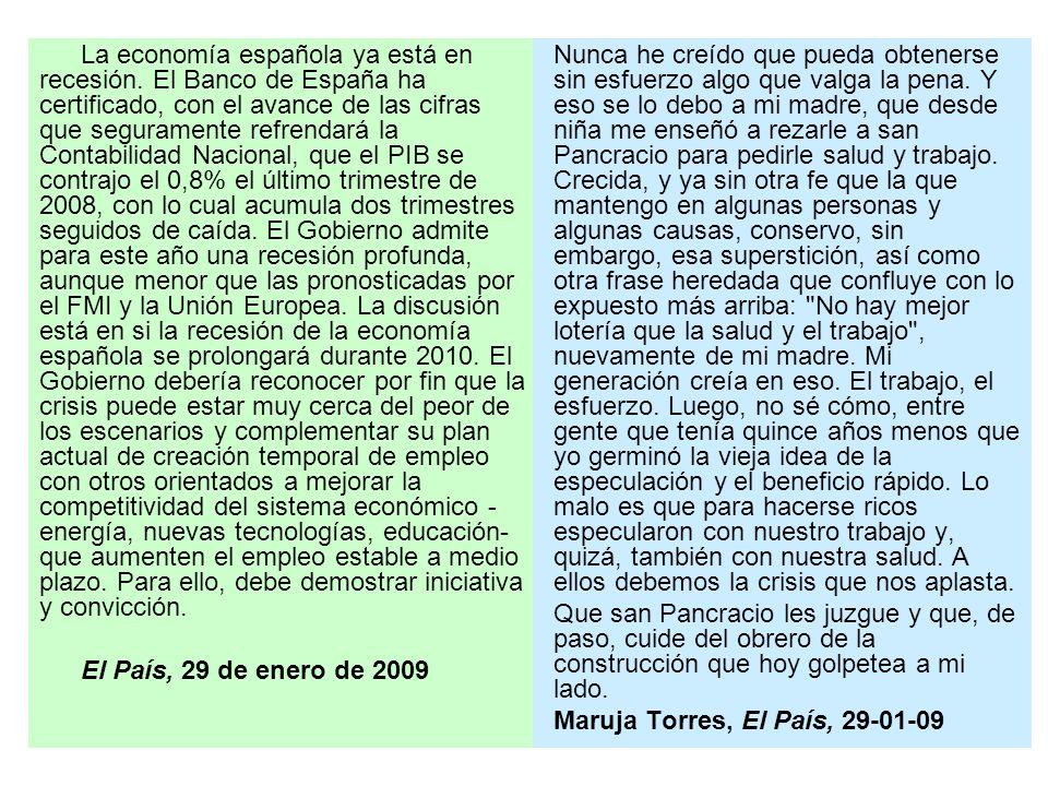 La economía española ya está en recesión