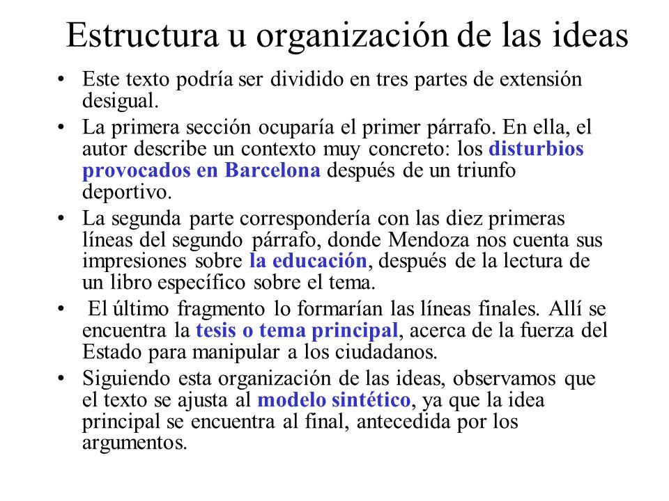 Estructura u organización de las ideas