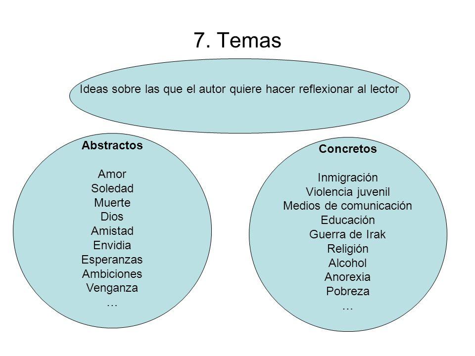 7. Temas Ideas sobre las que el autor quiere hacer reflexionar al lector. Abstractos. Amor. Soledad.