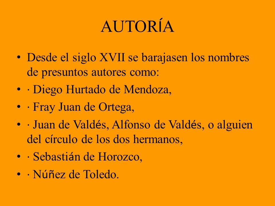 AUTORÍA Desde el siglo XVII se barajasen los nombres de presuntos autores como: · Diego Hurtado de Mendoza,