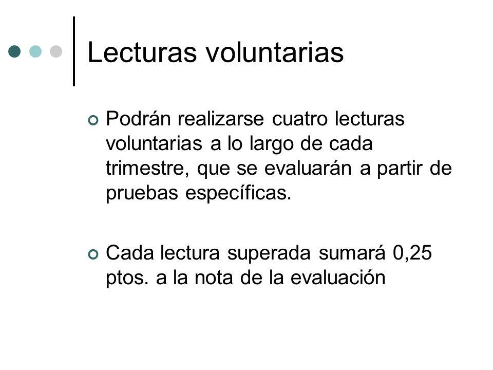 Lecturas voluntariasPodrán realizarse cuatro lecturas voluntarias a lo largo de cada trimestre, que se evaluarán a partir de pruebas específicas.