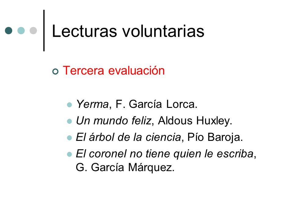 Lecturas voluntarias Tercera evaluación Yerma, F. García Lorca.