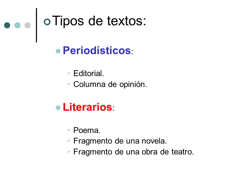 Tipos de textos: Periodísticos: Literarios: Editorial.