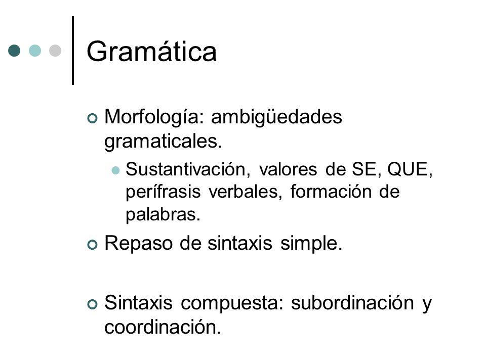 Gramática Morfología: ambigüedades gramaticales.
