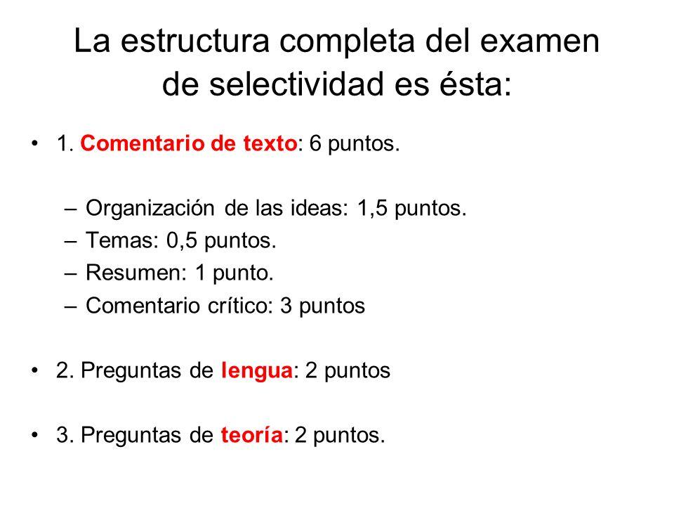 La estructura completa del examen de selectividad es ésta: