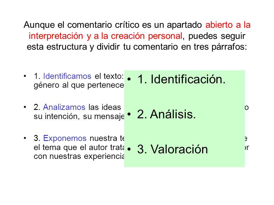 1. Identificación. 2. Análisis. 3. Valoración
