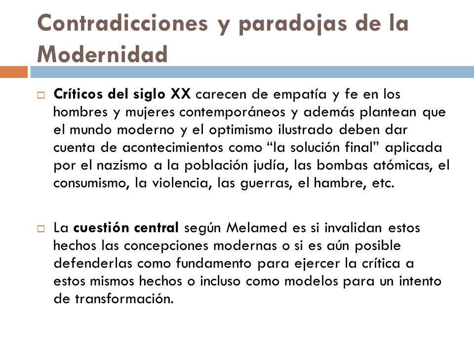 Contradicciones y paradojas de la Modernidad