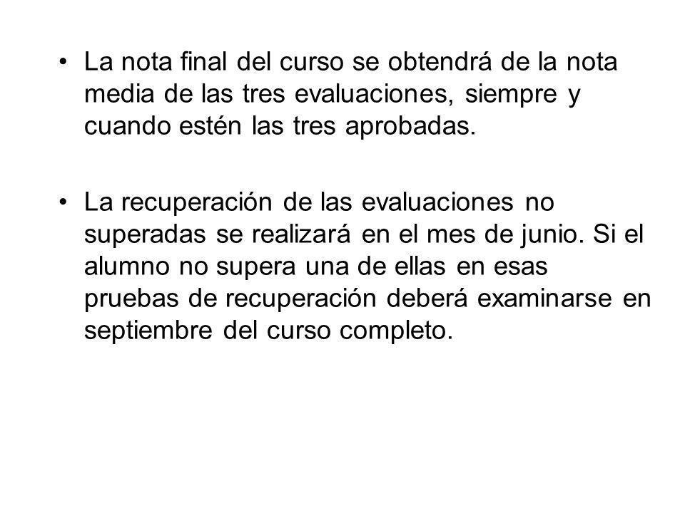La nota final del curso se obtendrá de la nota media de las tres evaluaciones, siempre y cuando estén las tres aprobadas.