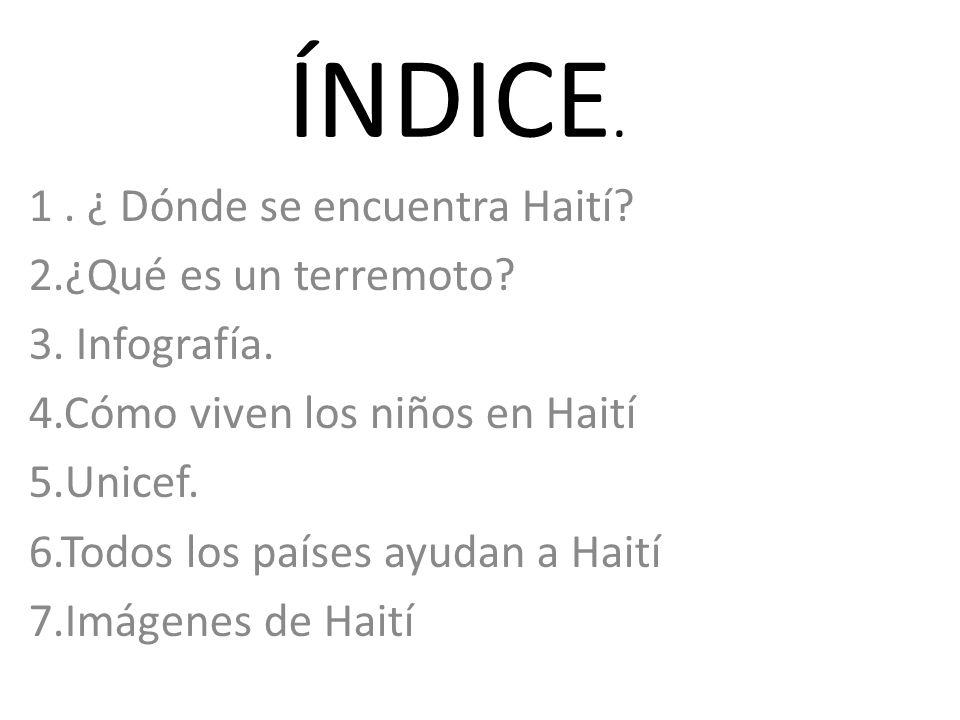 ÍNDICE. 1 . ¿ Dónde se encuentra Haití 2.¿Qué es un terremoto