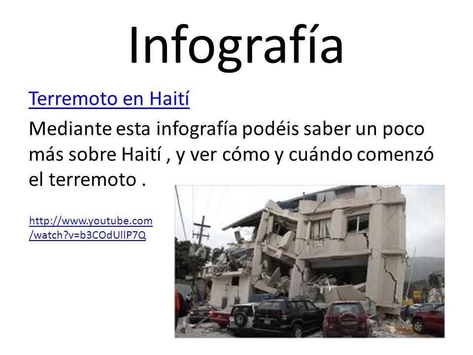 Infografía Terremoto en Haití Mediante esta infografía podéis saber un poco más sobre Haití , y ver cómo y cuándo comenzó el terremoto .