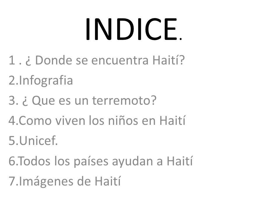 INDICE. 1 . ¿ Donde se encuentra Haití 2.Infografia