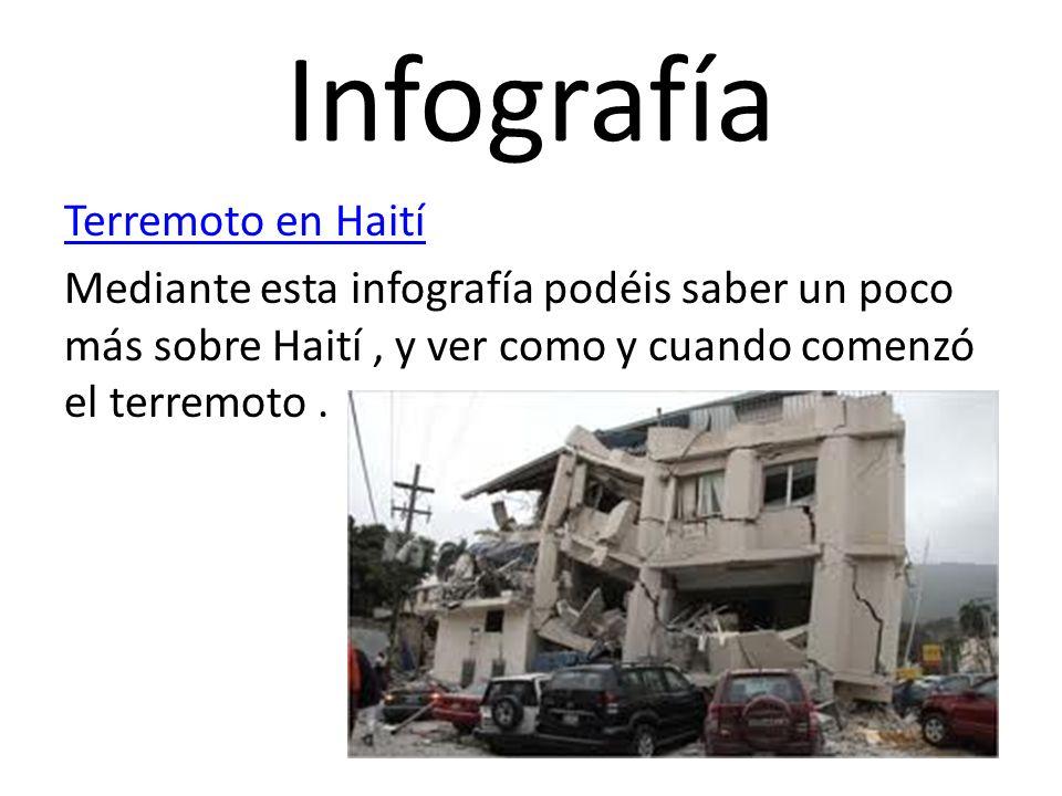 InfografíaTerremoto en Haití Mediante esta infografía podéis saber un poco más sobre Haití , y ver como y cuando comenzó el terremoto .