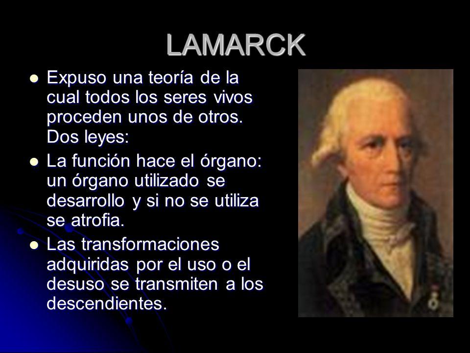 LAMARCK Expuso una teoría de la cual todos los seres vivos proceden unos de otros. Dos leyes: