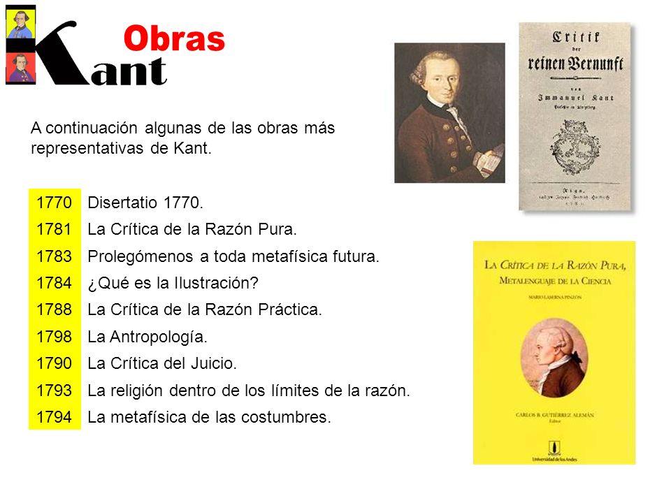 Obras A continuación algunas de las obras más representativas de Kant.