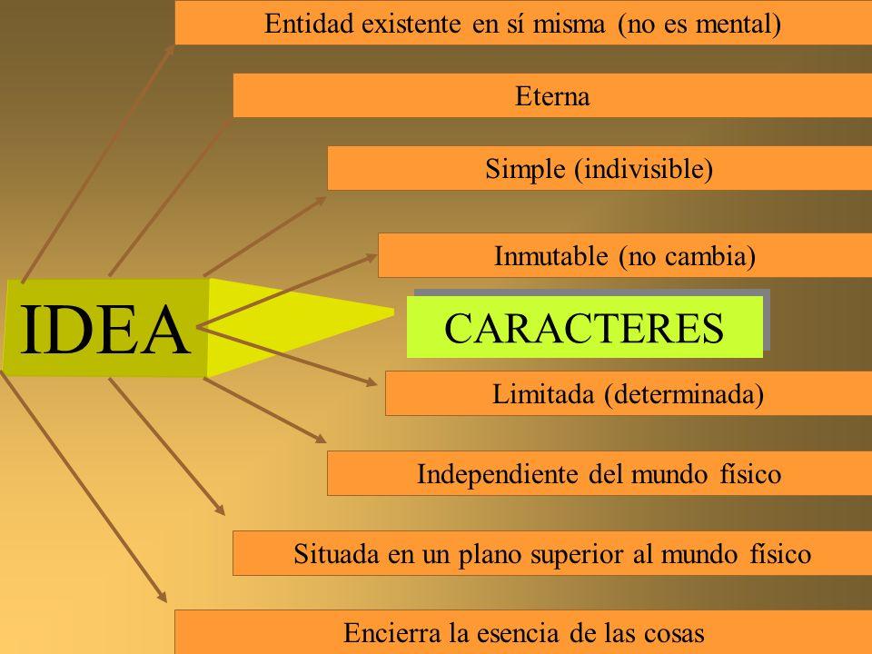 IDEA CARACTERES Entidad existente en sí misma (no es mental) Eterna