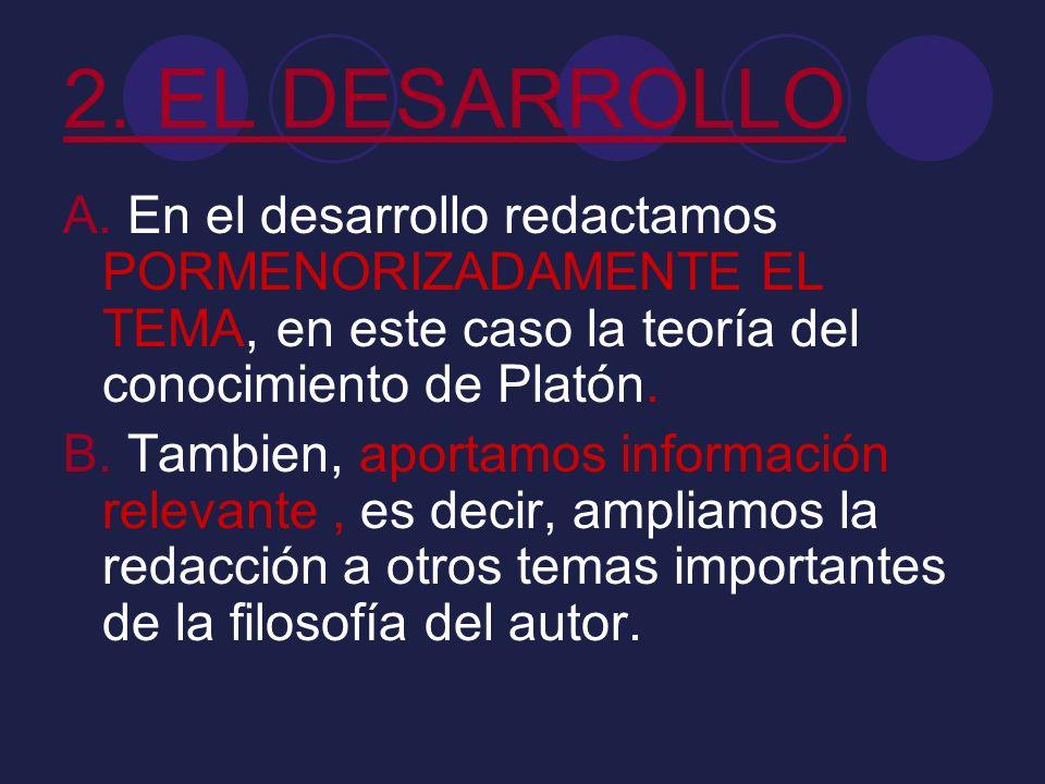 2. EL DESARROLLO A. En el desarrollo redactamos PORMENORIZADAMENTE EL TEMA, en este caso la teoría del conocimiento de Platón.