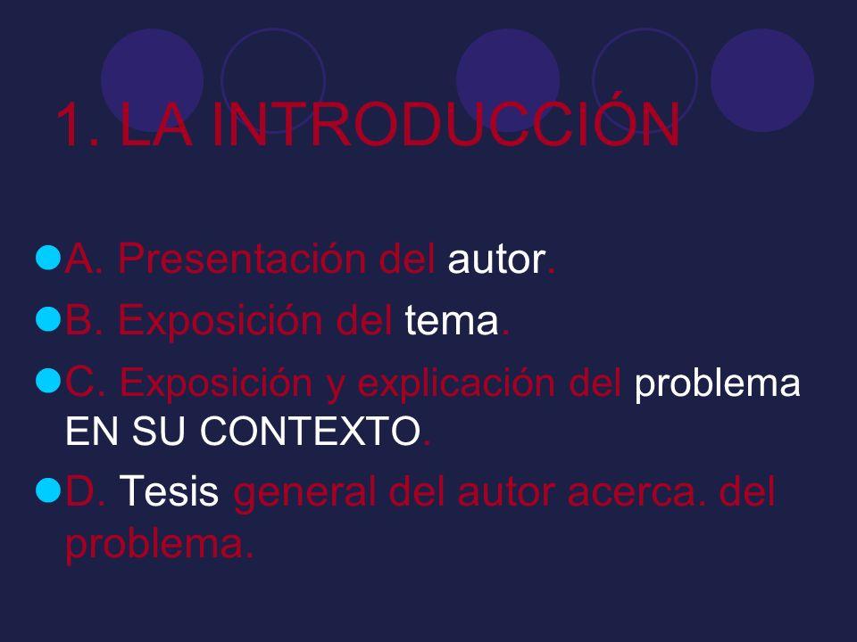 1. LA INTRODUCCIÓN A. Presentación del autor. B. Exposición del tema.