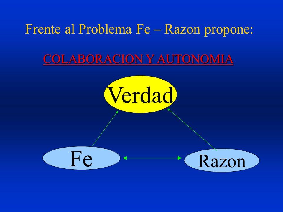Frente al Problema Fe – Razon propone: