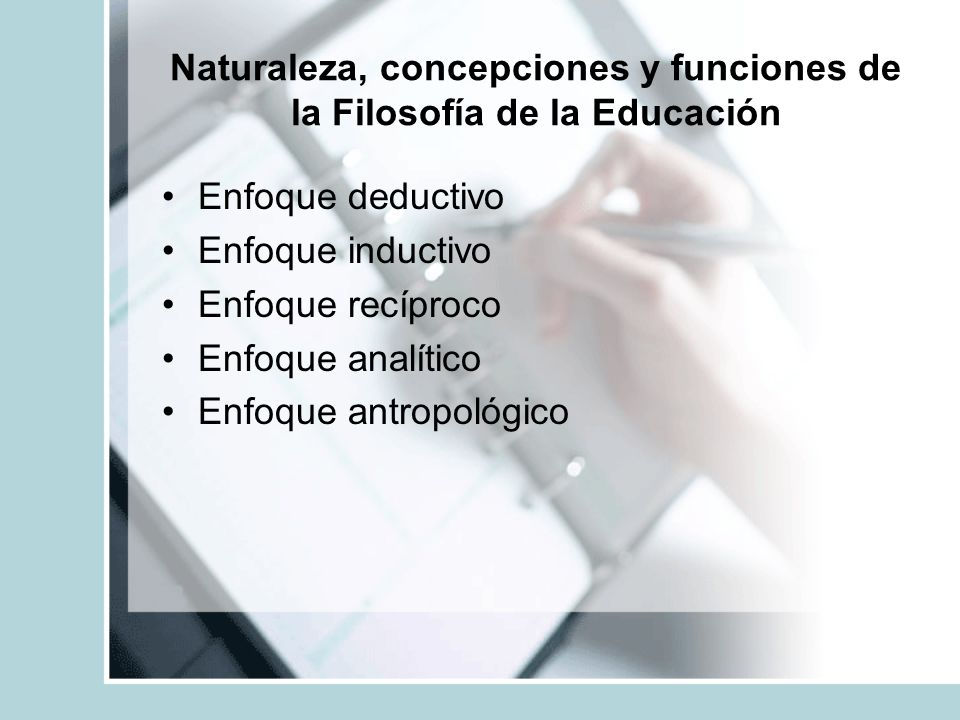 Naturaleza, concepciones y funciones de la Filosofía de la Educación