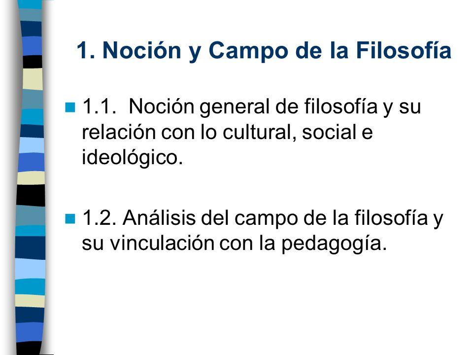 1. Noción y Campo de la Filosofía