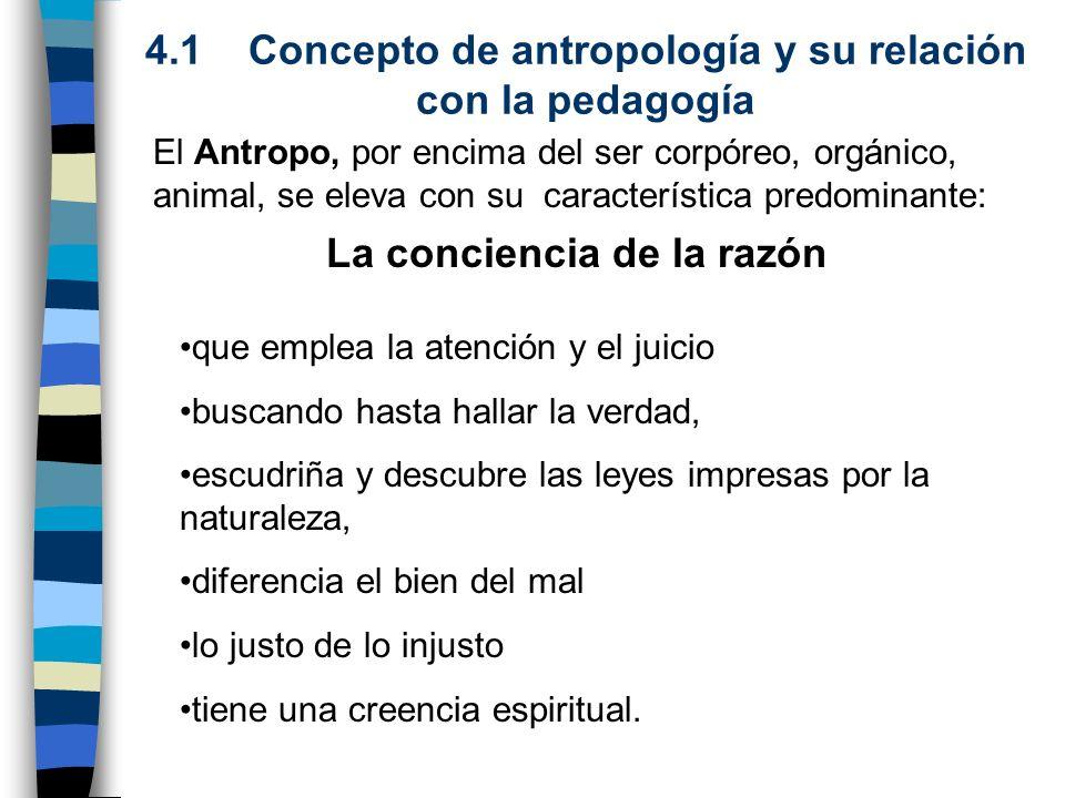 4.1 Concepto de antropología y su relación con la pedagogía