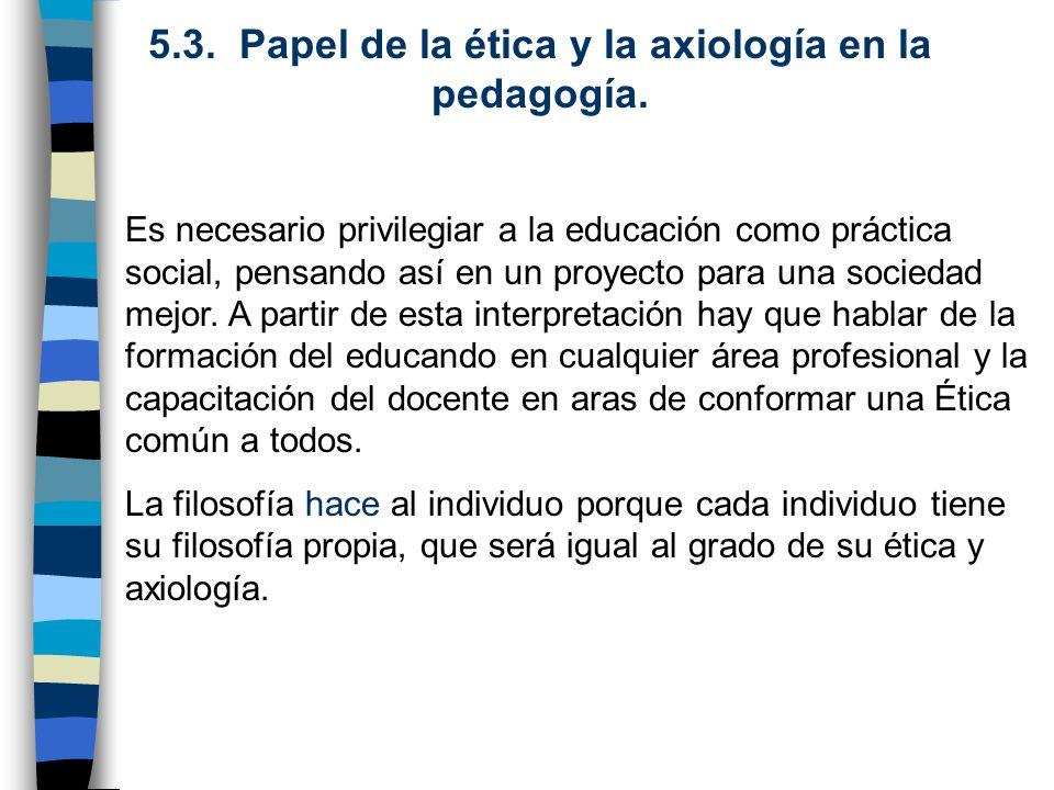 5.3. Papel de la ética y la axiología en la pedagogía.
