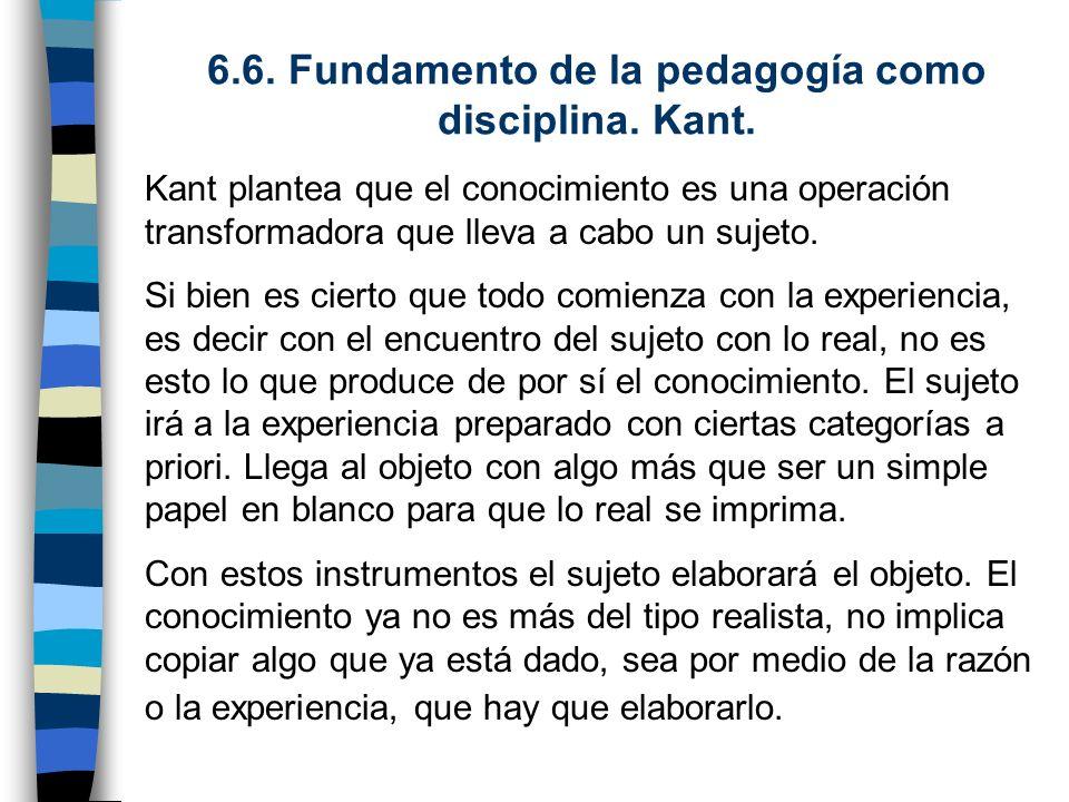 6.6. Fundamento de la pedagogía como disciplina. Kant.