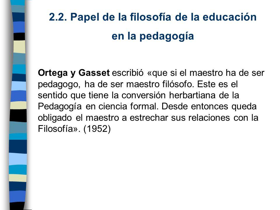 2.2. Papel de la filosofía de la educación en la pedagogía