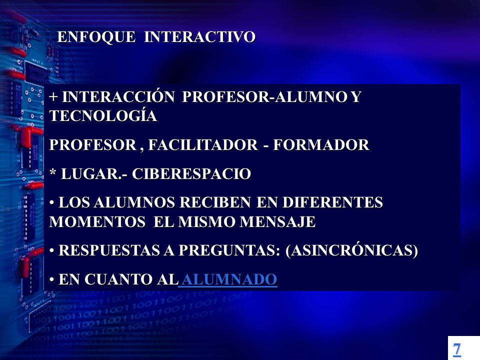 ENFOQUE INTERACTIVO + INTERACCIÓN PROFESOR-ALUMNO Y TECNOLOGÍA. PROFESOR , FACILITADOR - FORMADOR.