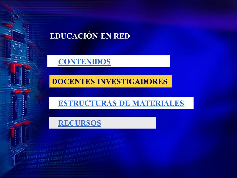EDUCACIÓN EN RED + CONTENIDOS DOCENTES INVESTIGADORES + ESTRUCTURAS DE MATERIALES + RECURSOS