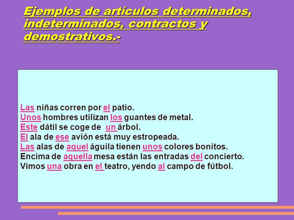 Ejemplos de artículos determinados, indeterminados, contractos y demostrativos.-