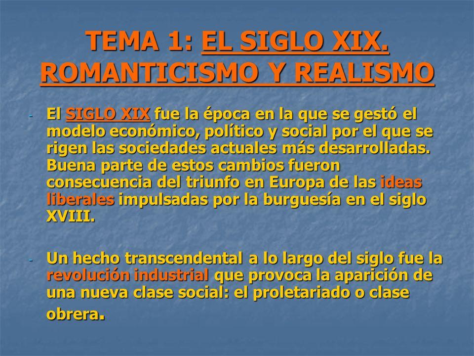 TEMA 1: EL SIGLO XIX. ROMANTICISMO Y REALISMO