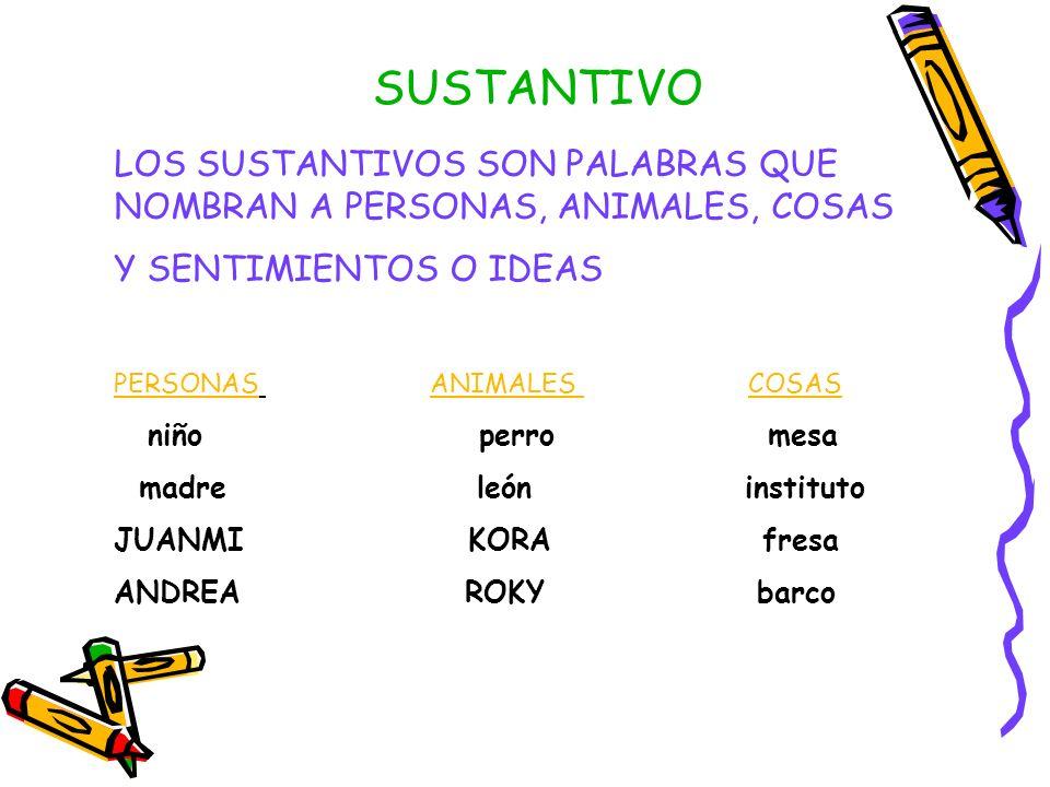 SUSTANTIVO LOS SUSTANTIVOS SON PALABRAS QUE NOMBRAN A PERSONAS, ANIMALES, COSAS. Y SENTIMIENTOS O IDEAS.