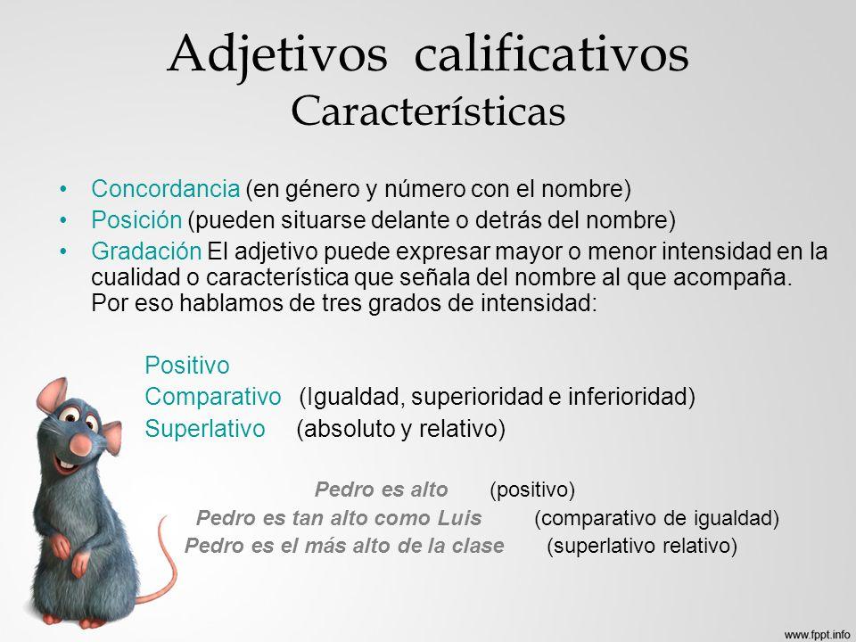 Adjetivos calificativos Características