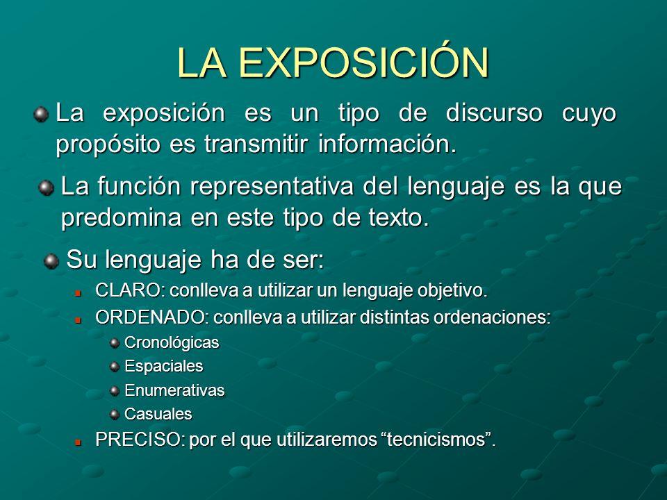 LA EXPOSICIÓN La exposición es un tipo de discurso cuyo propósito es transmitir información.