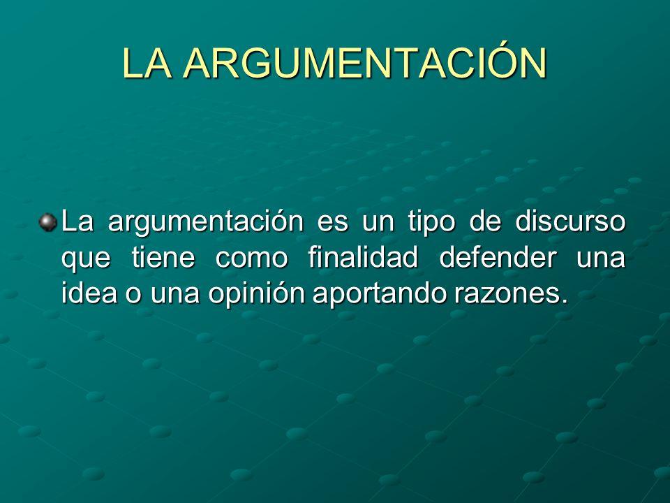 LA ARGUMENTACIÓNLa argumentación es un tipo de discurso que tiene como finalidad defender una idea o una opinión aportando razones.