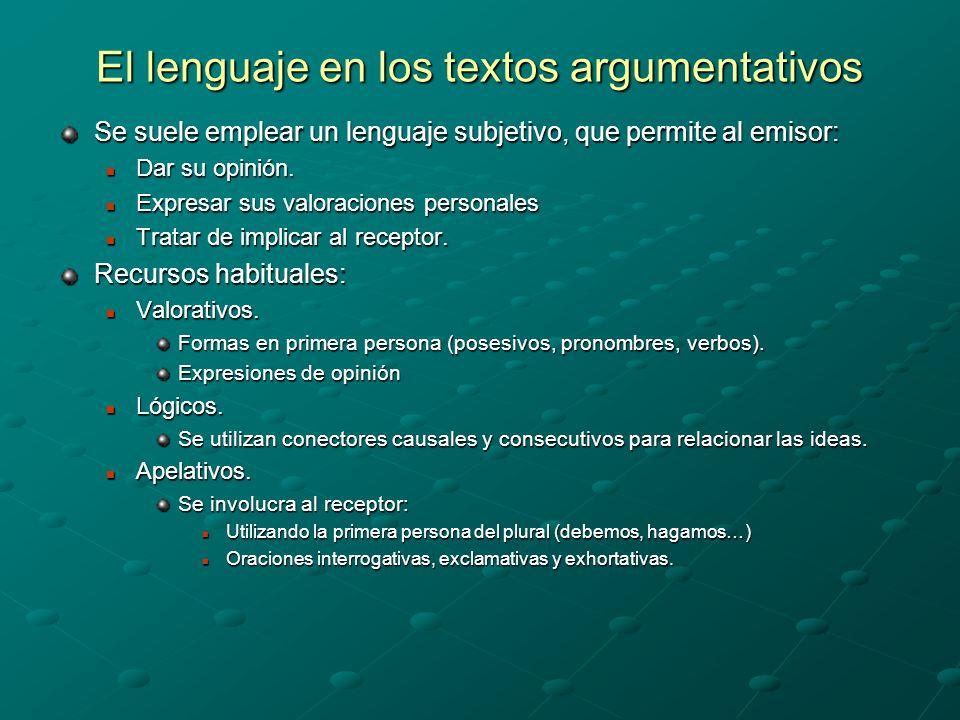 El lenguaje en los textos argumentativos