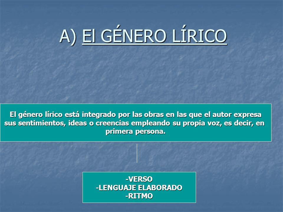 A) El GÉNERO LÍRICO El género lírico está integrado por las obras en las que el autor expresa.