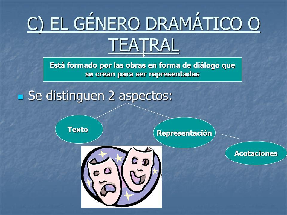 C) EL GÉNERO DRAMÁTICO O TEATRAL