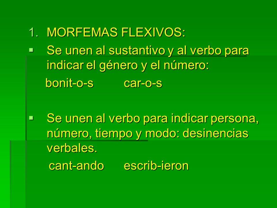 MORFEMAS FLEXIVOS:Se unen al sustantivo y al verbo para indicar el género y el número: bonit-o-s car-o-s.