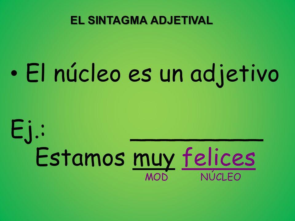El núcleo es un adjetivo Ej.: _________ Estamos muy felices