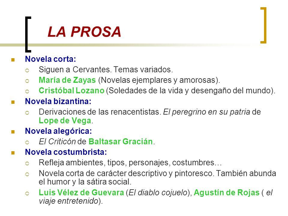 LA PROSA Novela corta: Siguen a Cervantes. Temas variados.