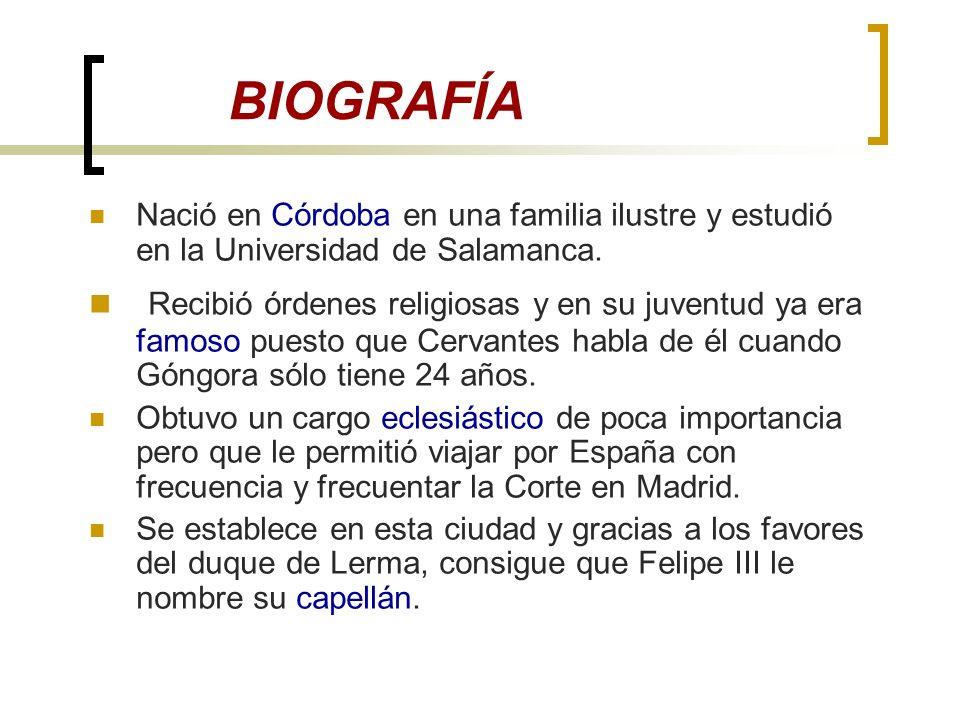 BIOGRAFÍA Nació en Córdoba en una familia ilustre y estudió en la Universidad de Salamanca.