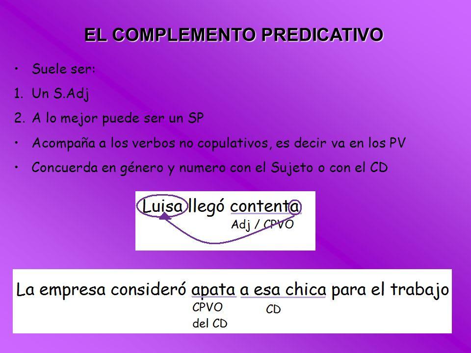 EL COMPLEMENTO PREDICATIVO