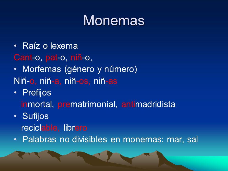 Monemas Raíz o lexema Cant-o, pat-o, niñ-o, Morfemas (género y número)