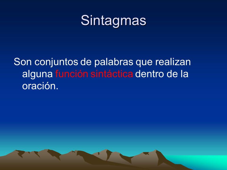 Sintagmas Son conjuntos de palabras que realizan alguna función sintáctica dentro de la oración.